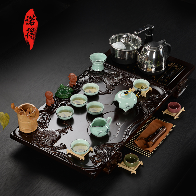 Four set bamboo tea tray entire kung fu tea yixing ceramic tea set special binglie combination