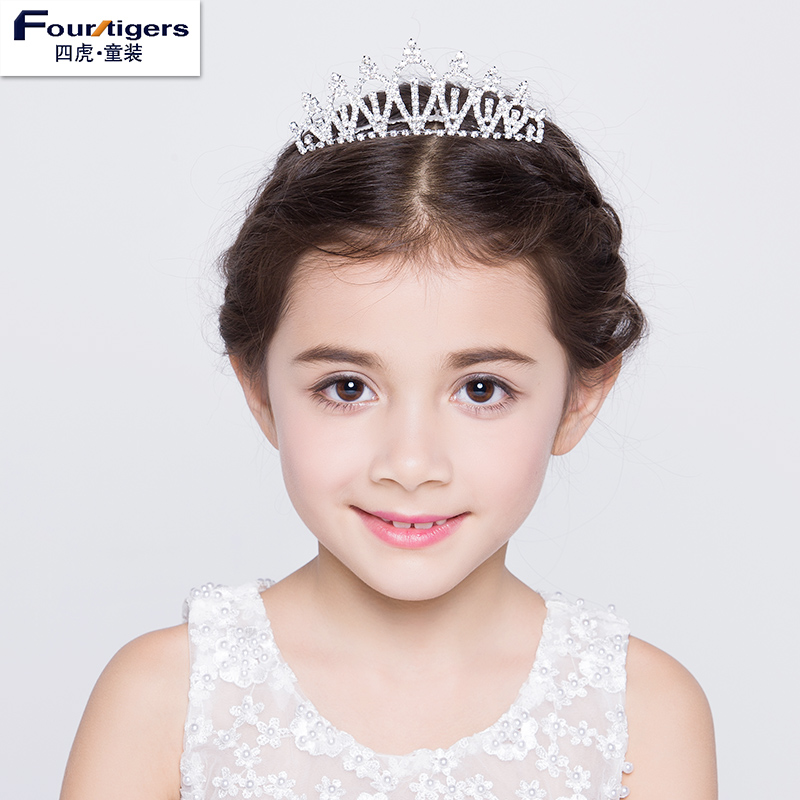 Four tiger kids 2016 new girls child princess dress accessories rhinestone tiara crown headband tiara crown