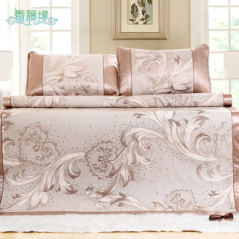 Fragrant vine limbus three sets of summer ice silk mat 1.51.8m folding seat air conditioning mat 1.5 m double bed dormitory mat