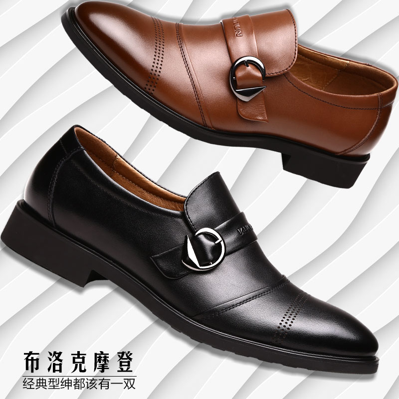 France dayton men's fall men's business suits pointed shoes men british style leather cowhide single shoes men