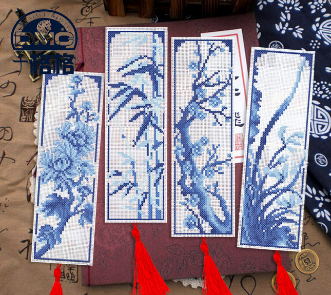 France dmc cross stitch line handmade bookmark plastic cloth [special] blue and white porcelain bamboo and chrysanthemum merlin four election