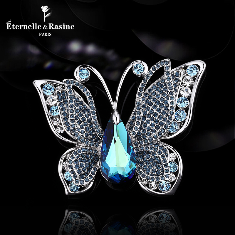 France eternelle using swarovski elements crystal butterfly brooch jewelry brooch female sweater chain
