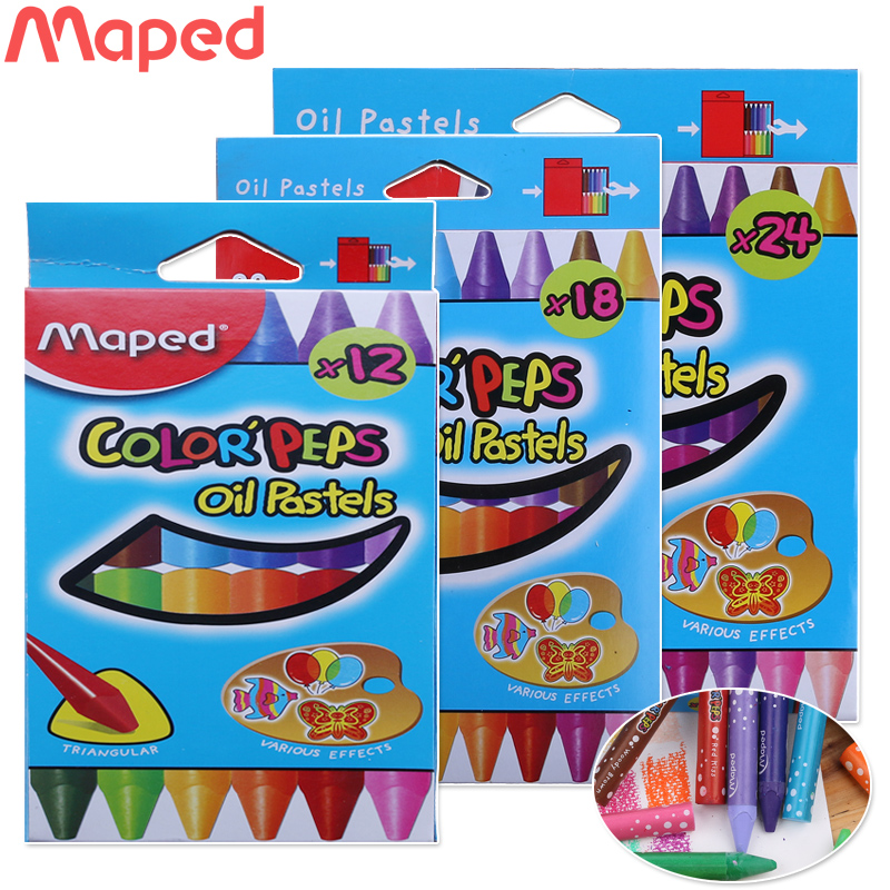 France maped maped 24 color oil pastel triangle thick shaft carton pen graffiti clean 864012