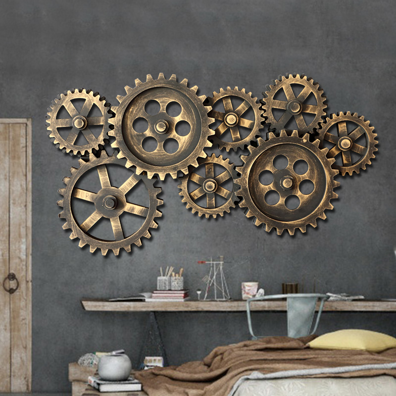France mu town retro gear loft industrial wind creative home decorative wall hangings bar restaurant personality mural