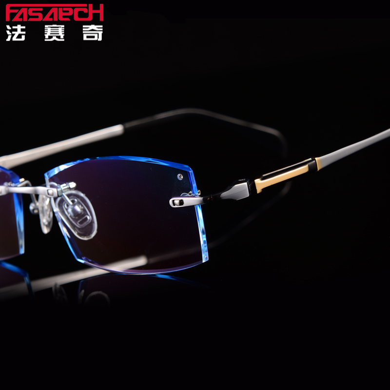 060eecdc9943 Get Quotations · France sage business mens diamond trimming titanium  rimless glasses frame tide models big face myopia glasses