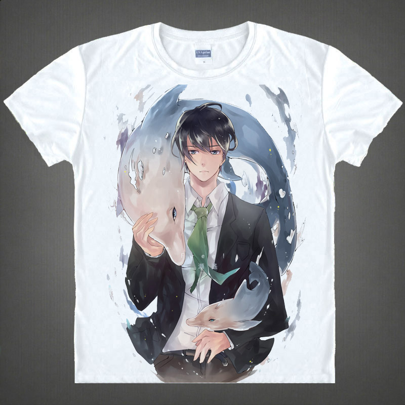 Free men's swimming department makoto seven ayase japanese anime costume short sleeve t-shirt animation around 02