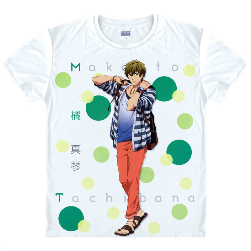 Free! Men's swimming department makoto seven ayase japanese anime costume short sleeve t-shirt around the 08