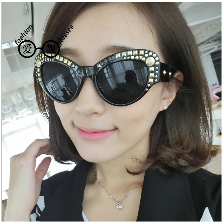 Free shipping 2016 new ms. sunglasses uv sunglasses retro sunglasses influx of people in europe and america punk ms. sunglasses