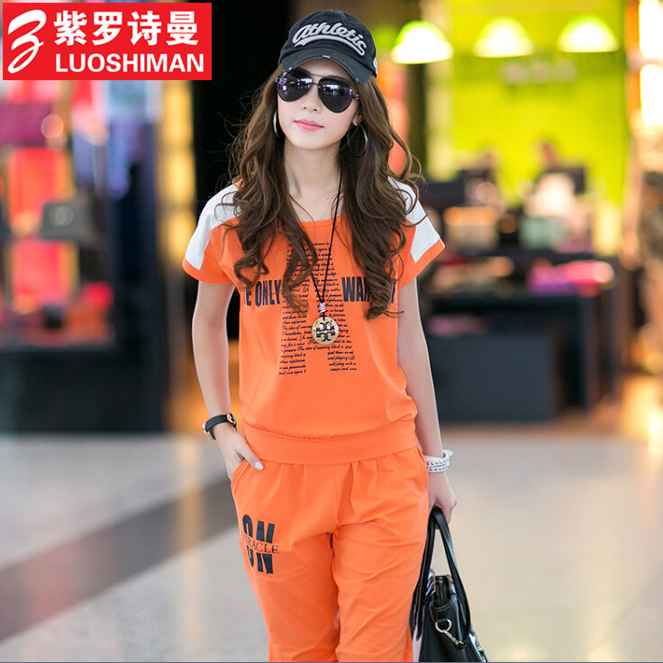 Free shipping 2016 summer new korean version of large size women loose short sleeve t-shirt casual sports pant suit female