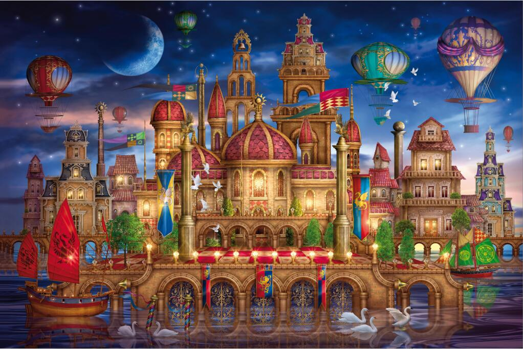 Free shipping adult 1000 wooden jigsaw puzzle 500 children's castle cartoon educational toys gift magical world