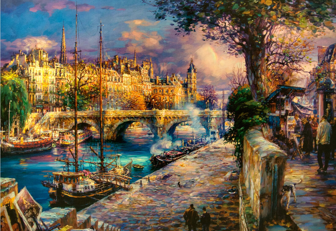 Free shipping adult educational toys 1000 wooden jigsaw puzzle 1500 world famous paintings oil painting france seine