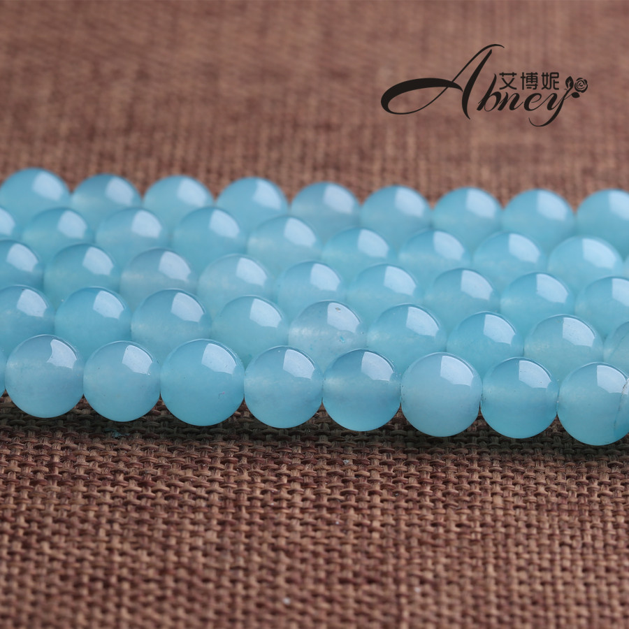 Free shipping blue chalcedony semifinished ballpoint aquamarine color chalcedony crystal loose beads diy handmade jewelry accessories