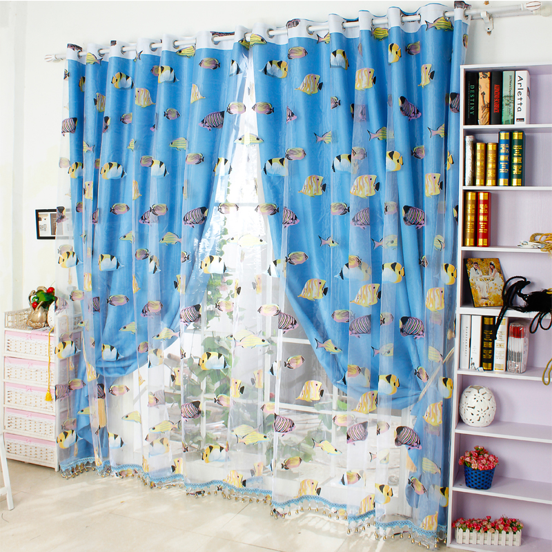 Free shipping burnt custom marine fish underwater world children's room curtains boys and girls bedroom curtains gauze cloth