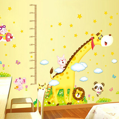 Free shipping cartoon giraffe height stickers baby room wall stickers for children kindergarten decorative painting background wall stickers