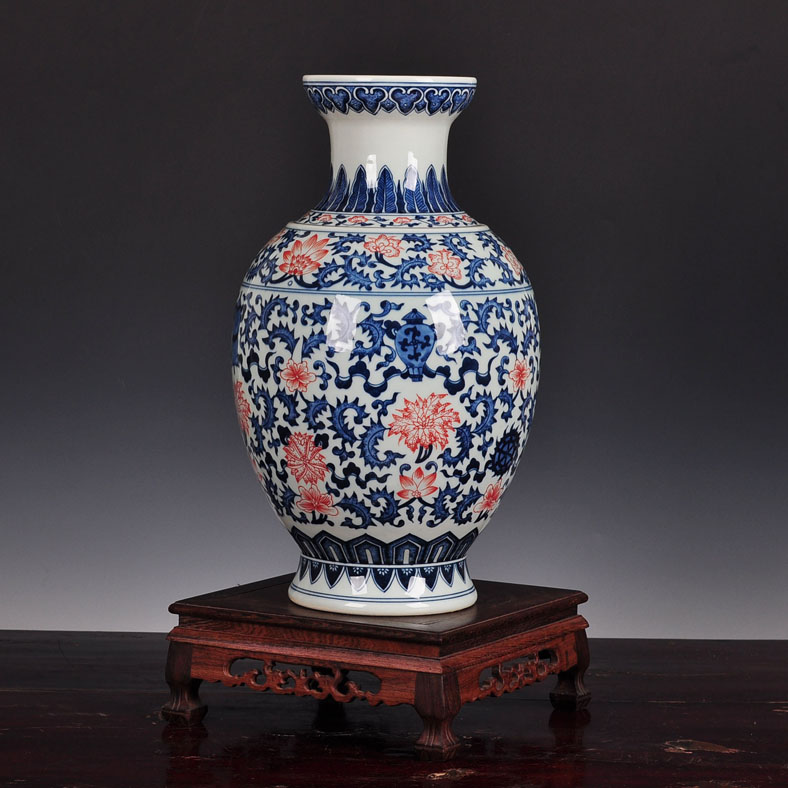 Free shipping chinese classical antique jingdezhen blue and white ceramic vase ornaments home accessories living room painted vase