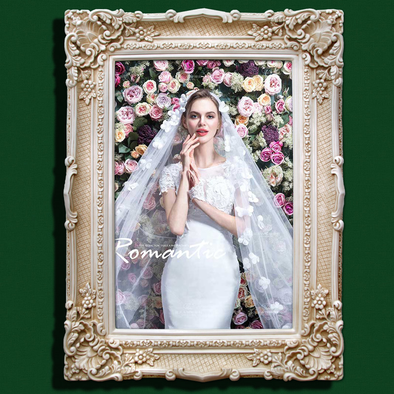 Free shipping creative pastoral crystal wall wedding photo frame 60 7-inch decorative american french korean wedding photo frame oil painting