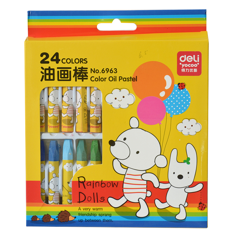 Free shipping deli 6963 art supplies 24 color oil pastel crayons children not sticky student painting supplies