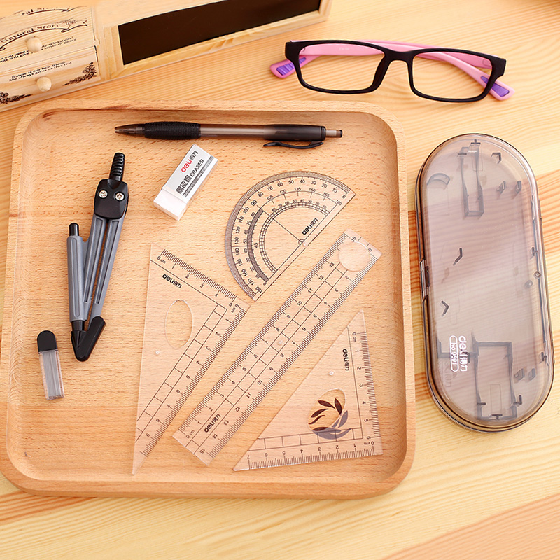 Free shipping deli 9591 student drawing compasses geometry math kit art student stationery supplies 8 sets