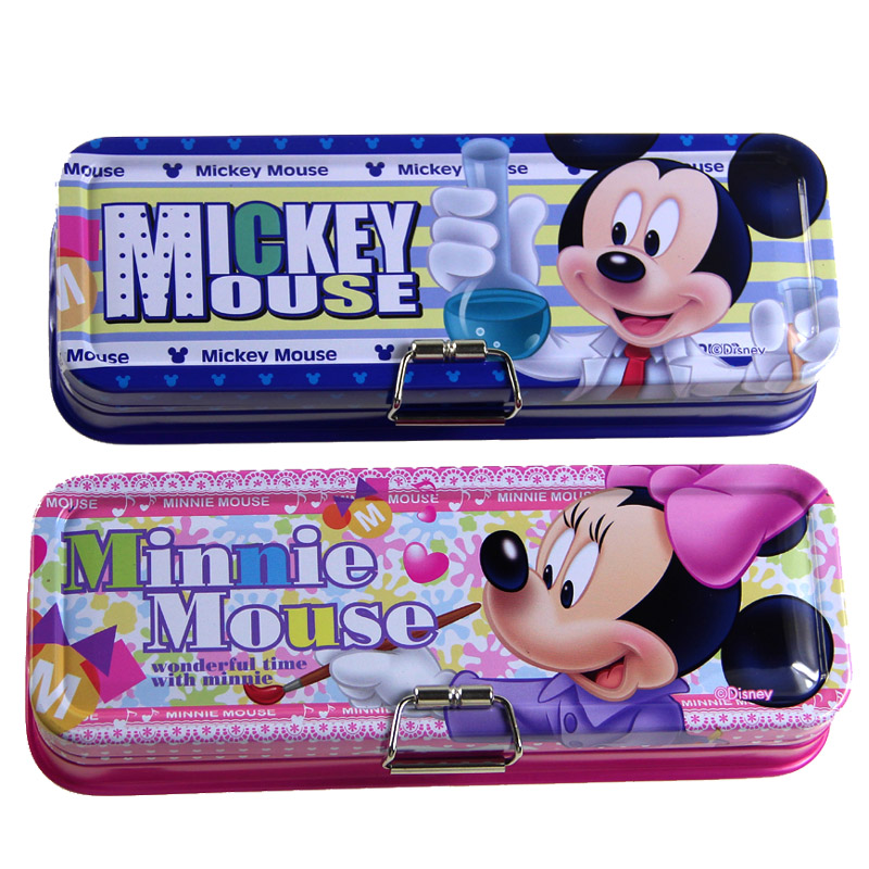 Free shipping disney mickey minnie cute cartoon stationery tin pencil box pencil case stationery student Z6996