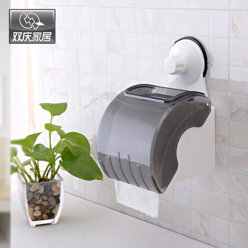 Free shipping double celebration sucker towel rack bathroom toilet tissue box reel spool roll toilet paper roll holder tissue box