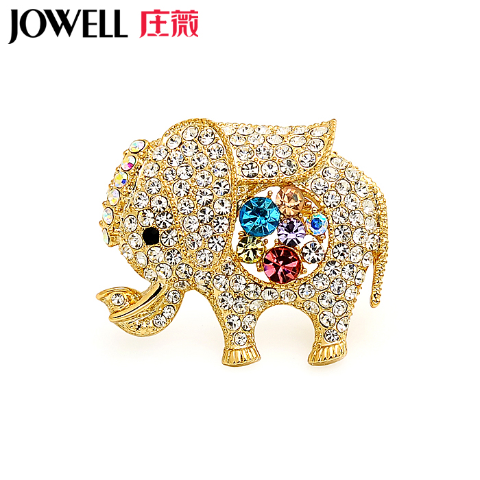 Free shipping jewelry accessories female suit new fashion alloy rhinestone elephant brooch pin brooch korean version of 46