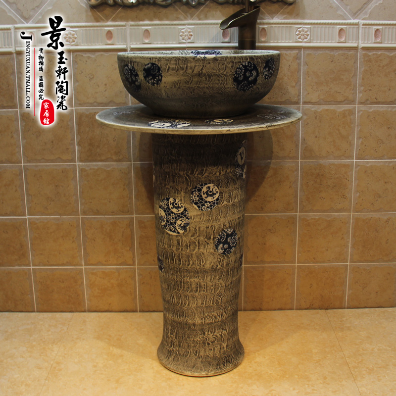 Free shipping jingdezhen ceramic gray bottom frosted ice dragons three sets of column pedestal basin wash basin counter basin