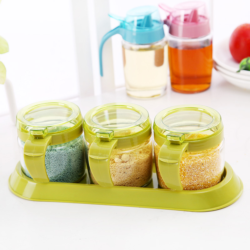 Free shipping kitchen supplies glass cruet condiment jar seasoning box covered with a spoon seasoning box grid feed tray