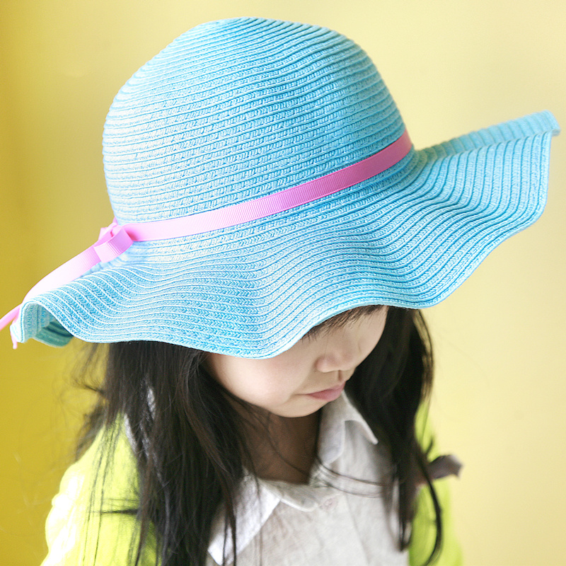 Free shipping korean children baby straw hat summer sun hat beach hat baby hat beanie hat for girls