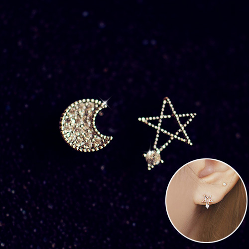 Free shipping korean jewelry fine silver earrings micro pave zircon moon and stars no pierced ear clip earrings ear clip earrings female 0102