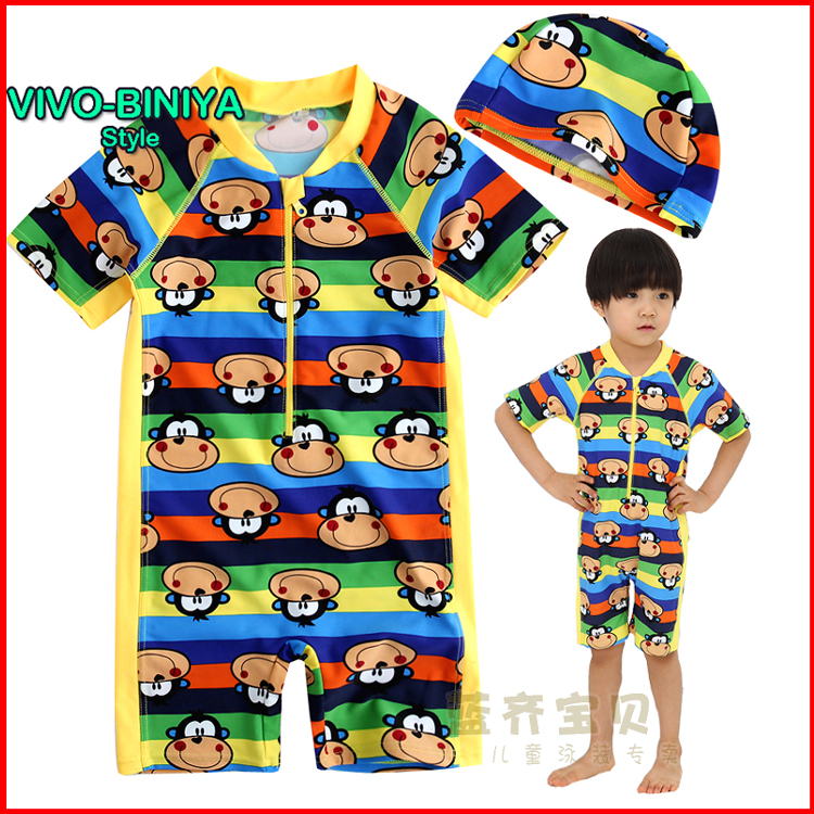 Free shipping korean short sleeve sunscreen child swimsuit baby boys and girls mouth monkey pattern piece swimwear swimming trunks