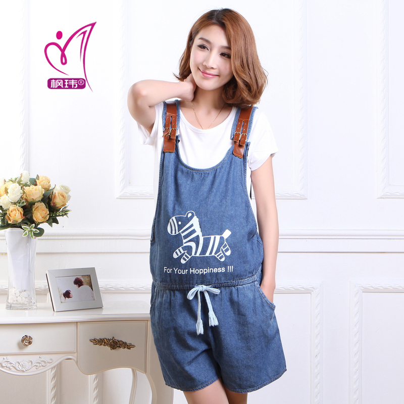 Free shipping maternity korean version of spring and summer new fifth denim overalls pregnant women overalls cute pony pattern
