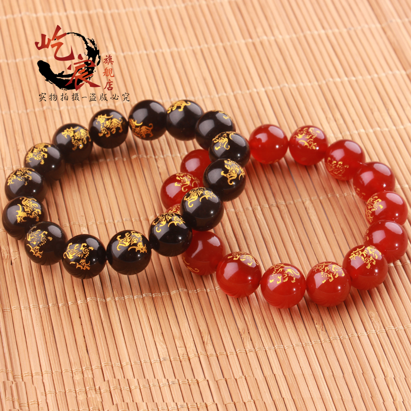 Free shipping natural obsidian opening red agate unicorn auspicious blessing fortune gilt beads bracelet male and female models gift