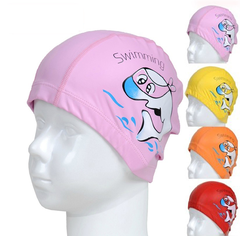 Free shipping new children's cartoon cute dolphin pu boys and girls learn to swim swimming cap swimming cap comfortable naples head swimming cap