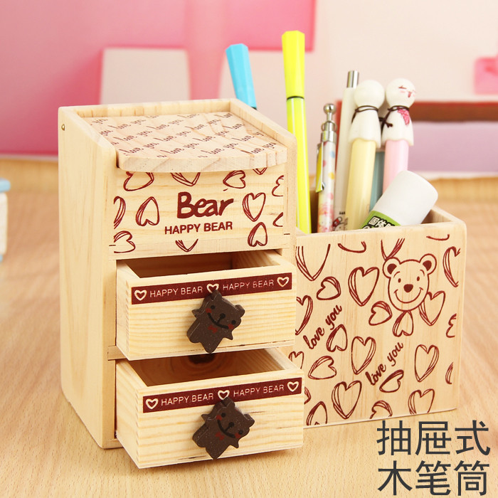 Free shipping new korean version of the creative fashion cute wooden pencil with double drawer barrel multifunction wood student storage box