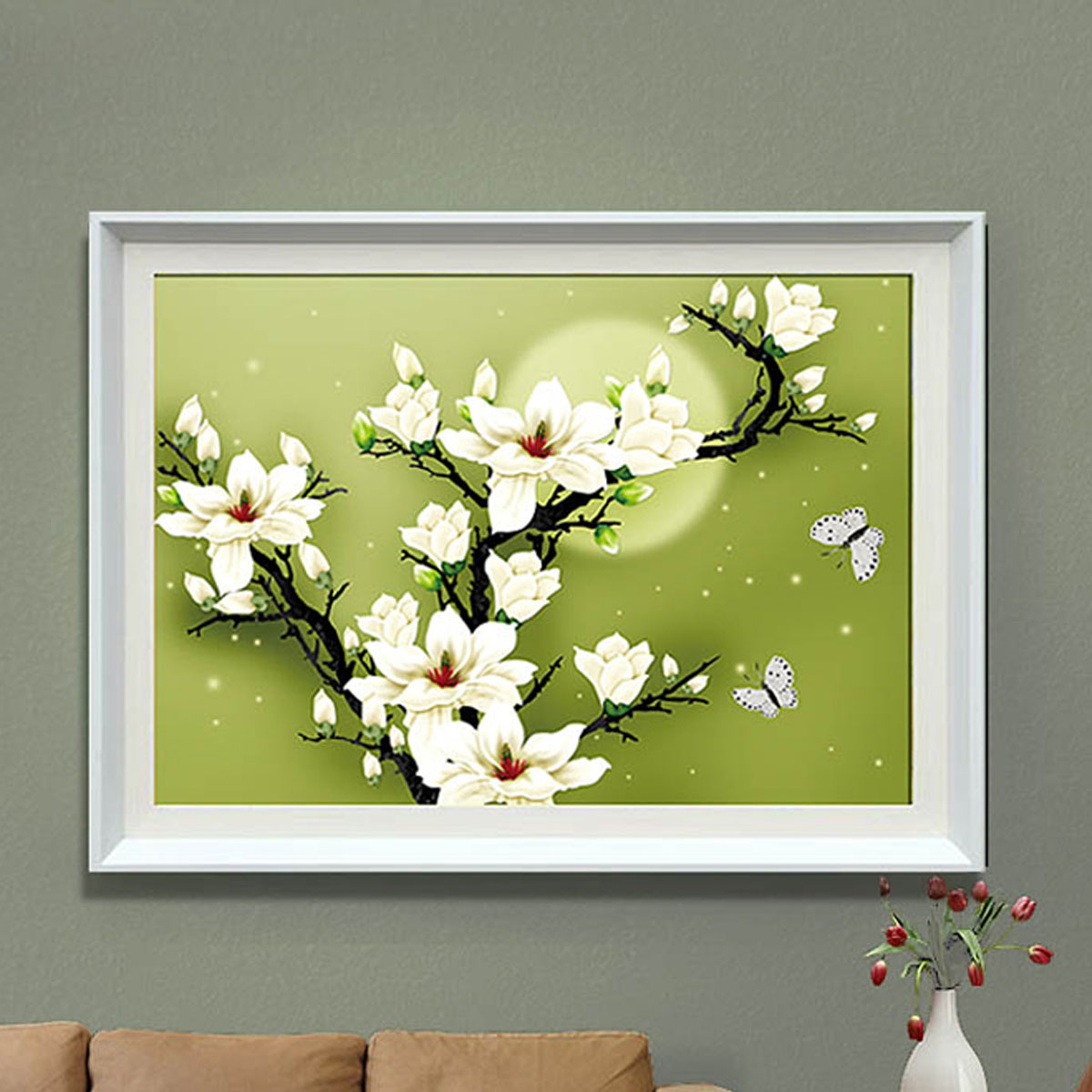 Free shipping new printed cross stitch 3d5d dimensional painting painting the living room sharply bedroom series moonlight magnolia