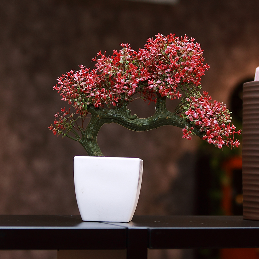 Free shipping simulation small bonsai plants yingkesong fake flowers wishing tree bonsai simulation green potted plant pots containing