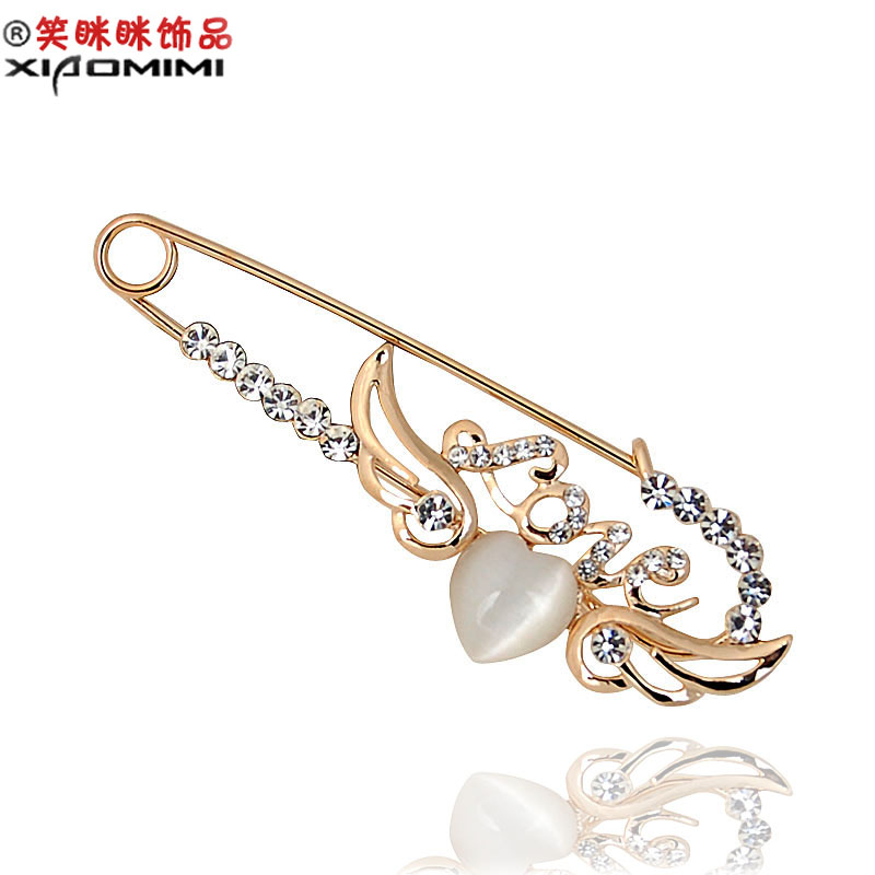 Free shipping smiling love gift crystal rhinestone brooch korean female corsage brooch pin collar pin korea