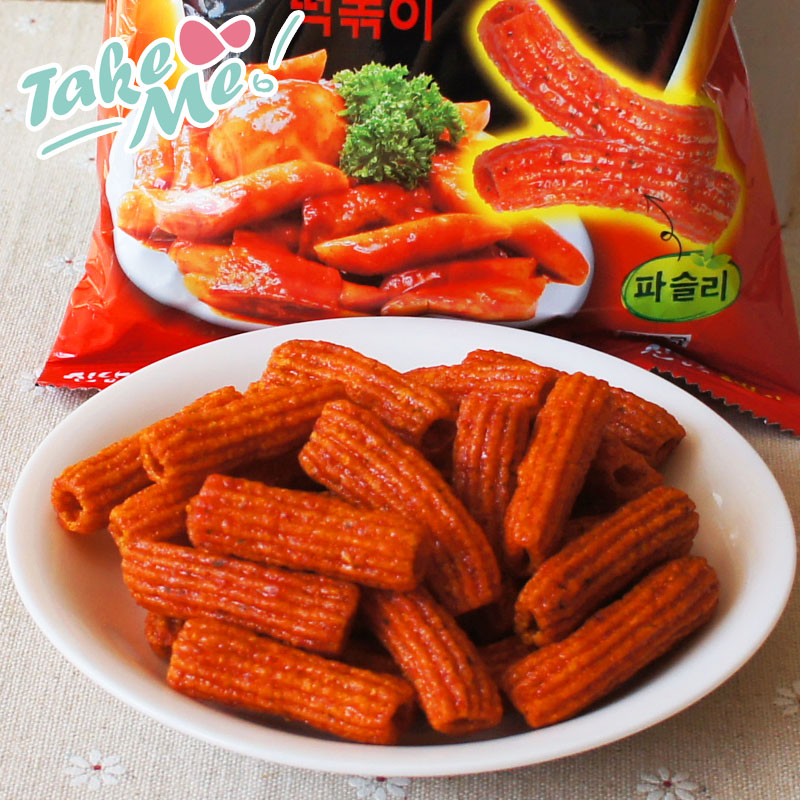 Free shipping south korea imported snacks nine days 110g baked not fried spicy fried rice cake pieces puffed snack