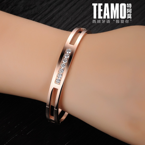 Free shipping south korea rose gold bracelet couple bracelet one pair of male and female models may lettering valentine's day gift