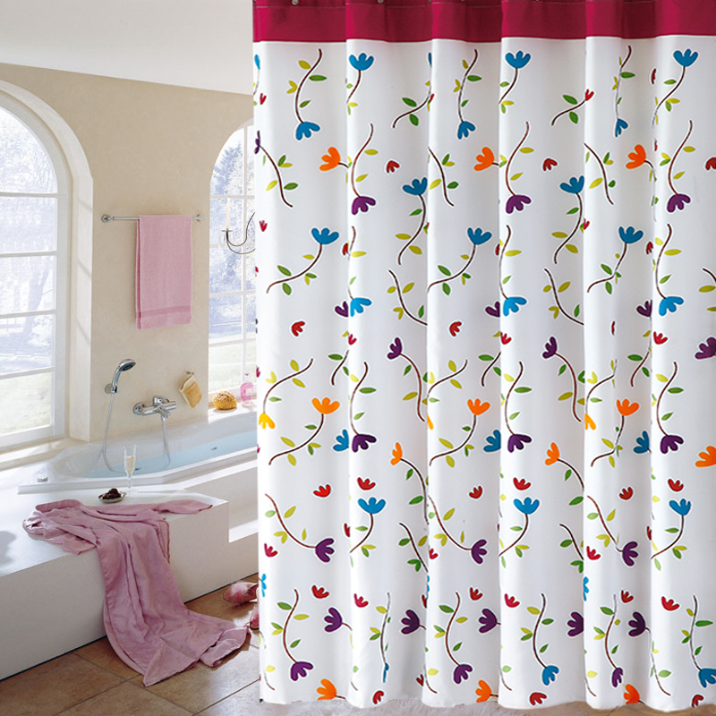 Free shipping thick polyester shower curtain buckle eye orchid flower heavier sinker line to send enough shower curtain rings