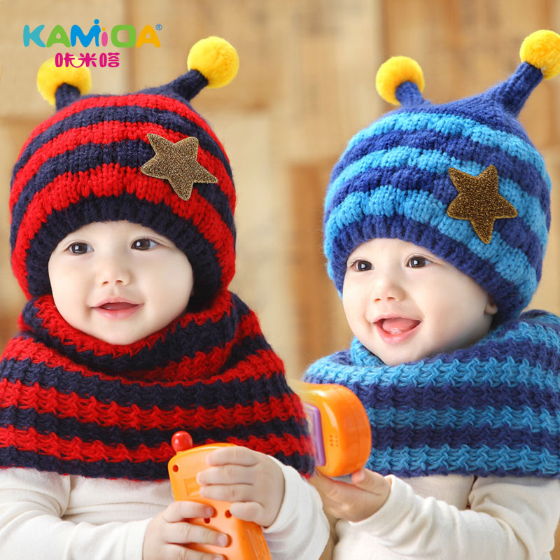 5d997cdc0d6f3 Get Quotations · Free shipping winter hat children hat scarf piece baby  wool hat knitted hat korean boys and