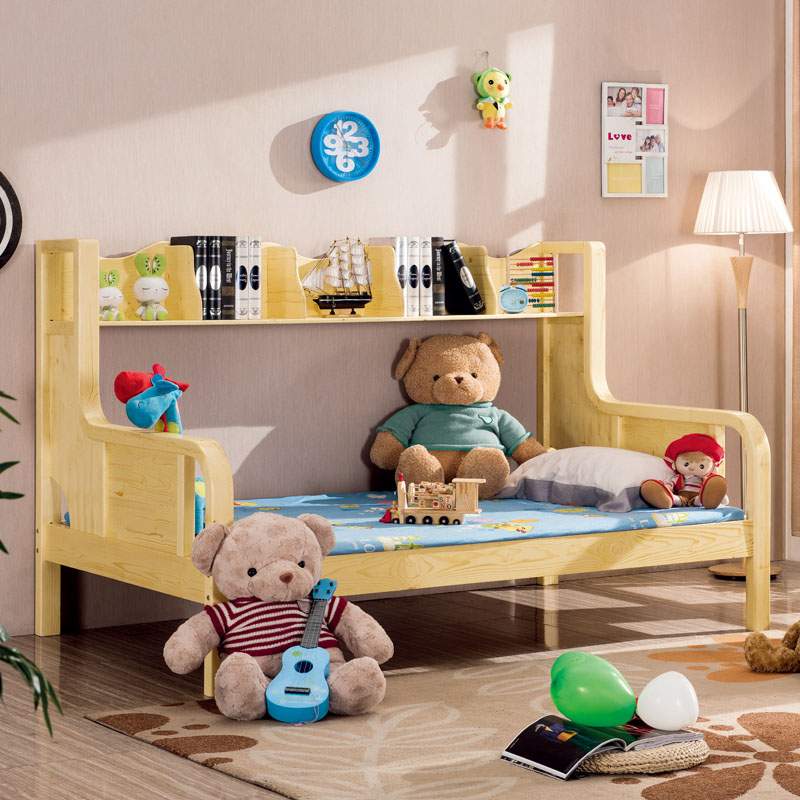 Free shipping wood bed pine bed children's multifunction fashion simple wooden bed with bookshelf
