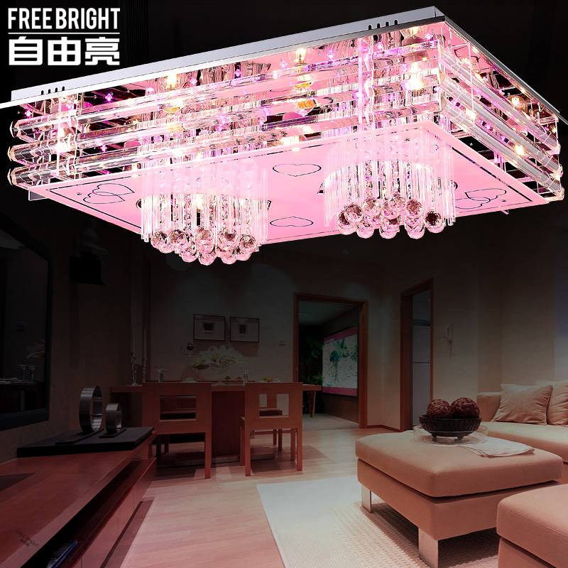 Freedom bright living room lamp creative led ceiling lamp modern minimalist bedroom lamp crystal lamp rectangular hall