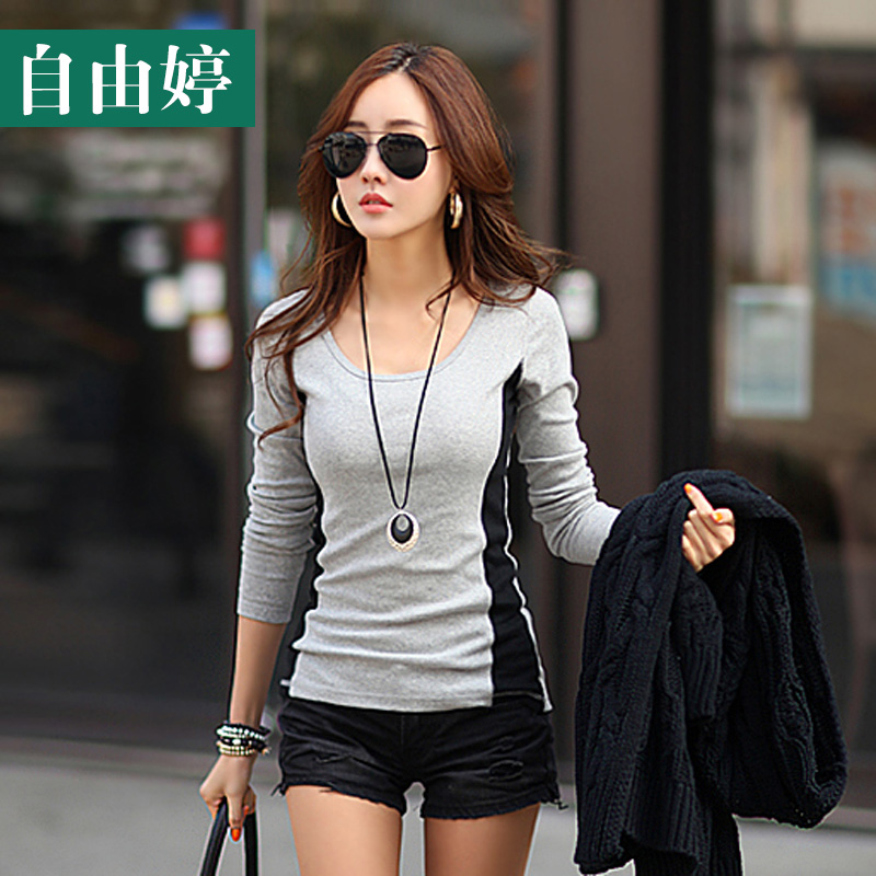 Freedom ting 2016 spring new women stitching bottoming shirt female korean version of slim was thin cotton long sleeve t-shirt female