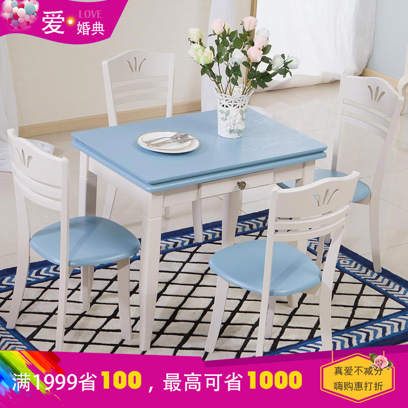 Friends of the ring folding table small apartment dinette tables and chairs combination of mediterranean american country blue retractable table
