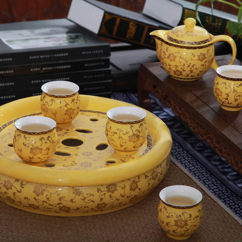 Friskies-jingdezhen ceramic tea set 8 double against hot large saucer tea tray tea cup gold exhibition flowers