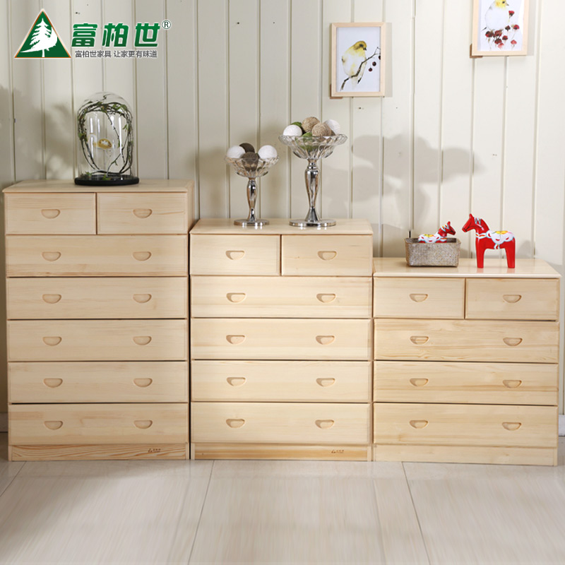 Fu bo shi pine wood modern finnish pine chest of drawers six seven doo doo cabinet modern minimalist cabinet lockers specials