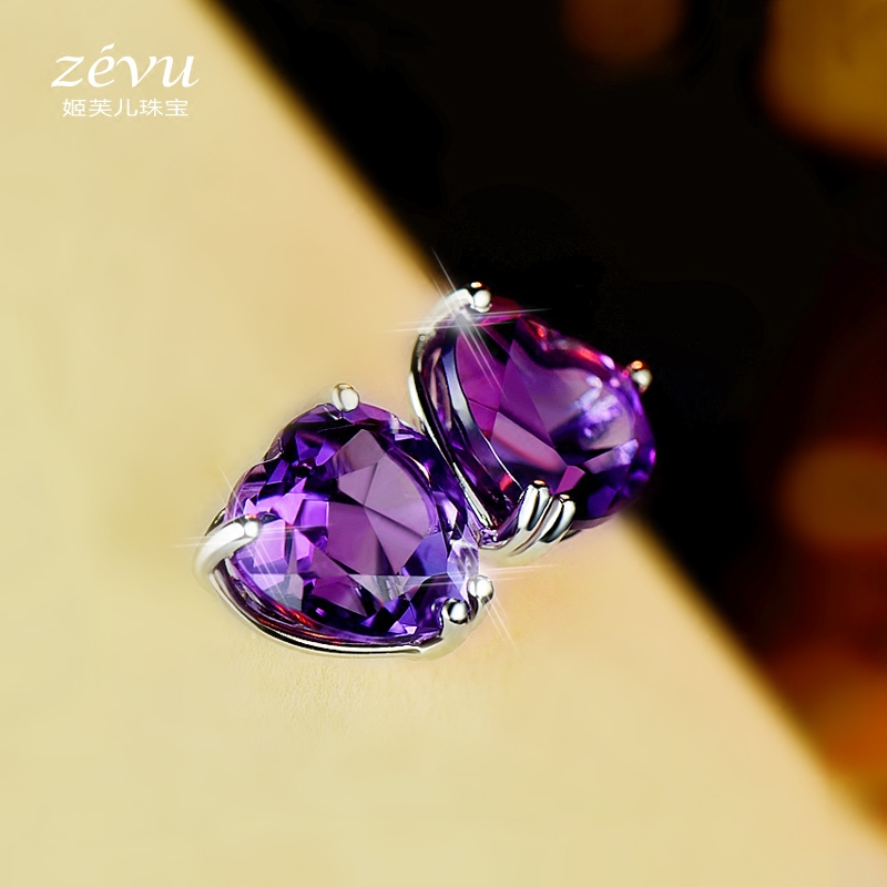 Fu ji children female amethyst earrings 925 silver natural gemstone earrings hypoallergenic south korean temperament simple earrings