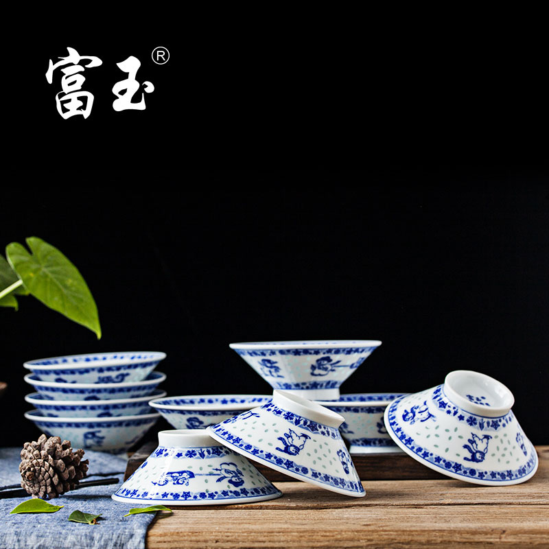 Fu yu milinglong chinese porcelain crockery cutlery sets jingdezhen ceramics health snowman under glaze bowl of rice soup bowl