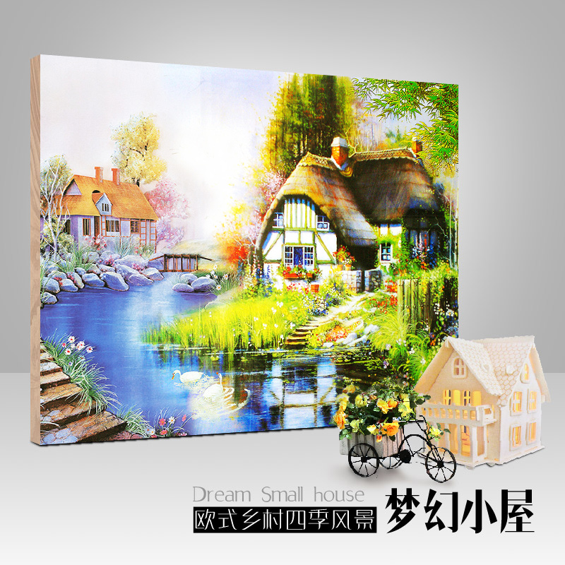 [Full] new cube diamond drill point diamond stitch living room painting landscapes bedroom diamond embroidery